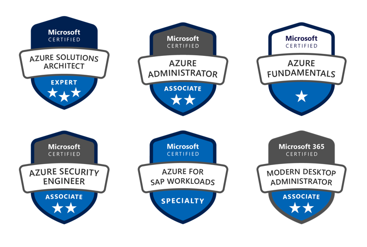 Received Azure exam badges