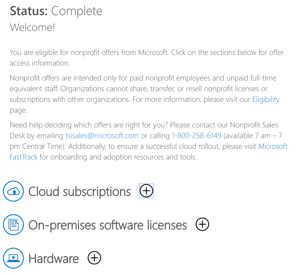Microsoft nonprofit register completed