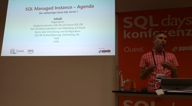 SQL Days 2018 - Session about SQL Managed Instance